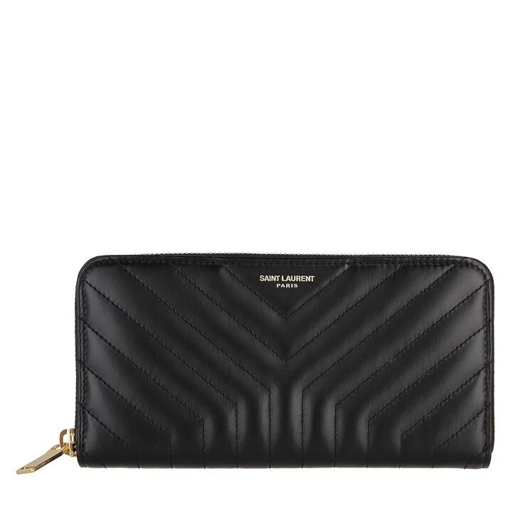 wallets, Saint Laurent, Joan Zip Around Wallet Quilted Leather Black