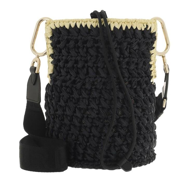 bags, Furla, Furla Lipari S Bucket Bag - Tessuto Rafia Uncinett Nero