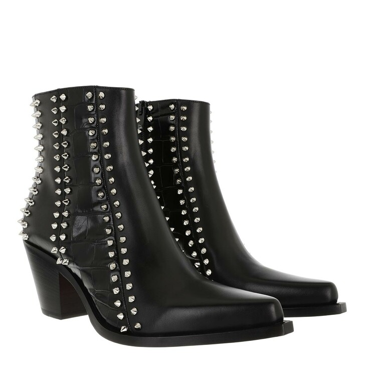 Schuh, Christian Louboutin, Rockstud Ankle Boots Leather Black/Silver