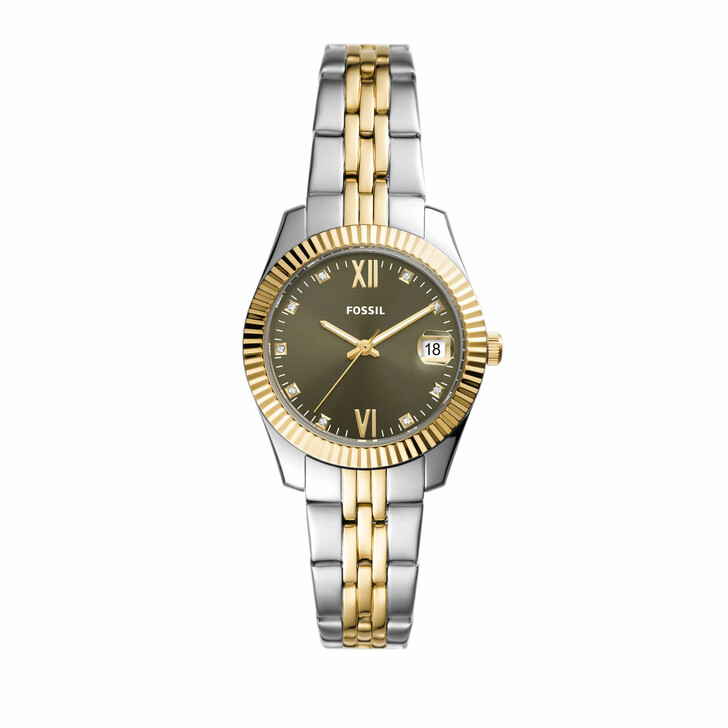 watches, Fossil, Women's Scarlette Mini Three-Hand Date Stainless S Silver Bicolored