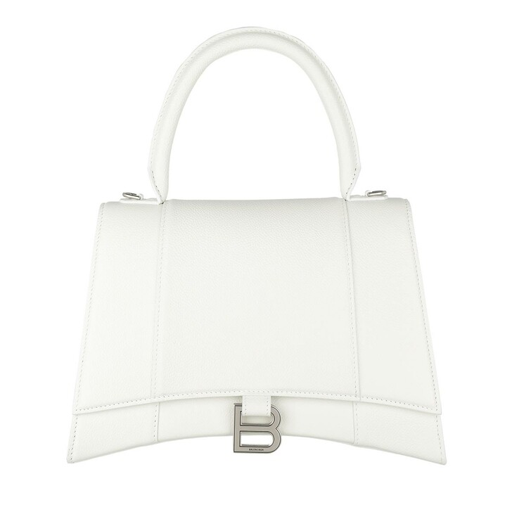 Handtasche, Balenciaga, Hourglass Medium Satchel Bag Leather White