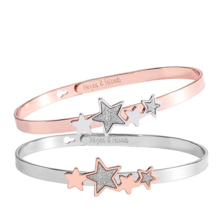 Armreif, Megan & Friends, Bangle Set Stars Silver/Rose Gold