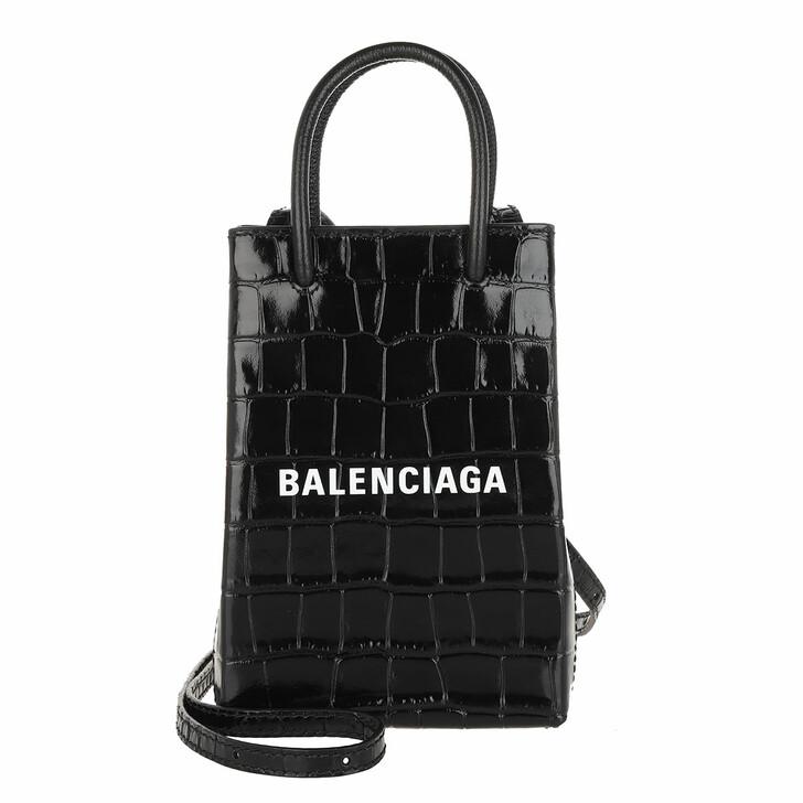 smart_cases, Balenciaga, Shopping Phone Holder Bag Leather Black/White