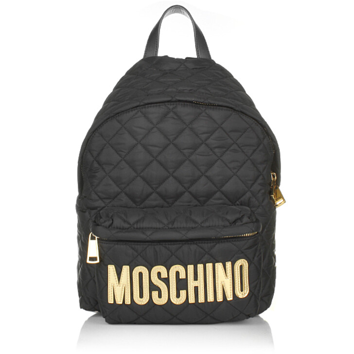 Reisetasche, Moschino, Quilted Textile Backpack Black Gold