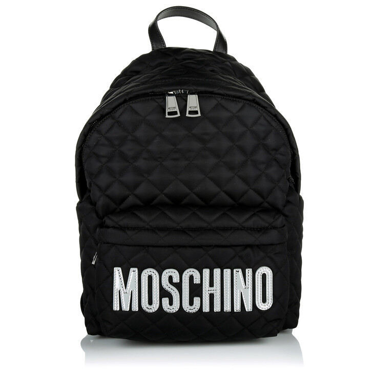 Reisetasche, Moschino, Medium Logo Detail Backpack Black