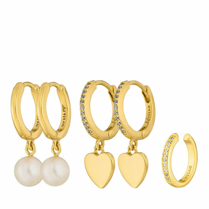 Ohrring, Leaf, Set Earcuff Zirconia and Creoles Heart and Pearl Yellow Gold