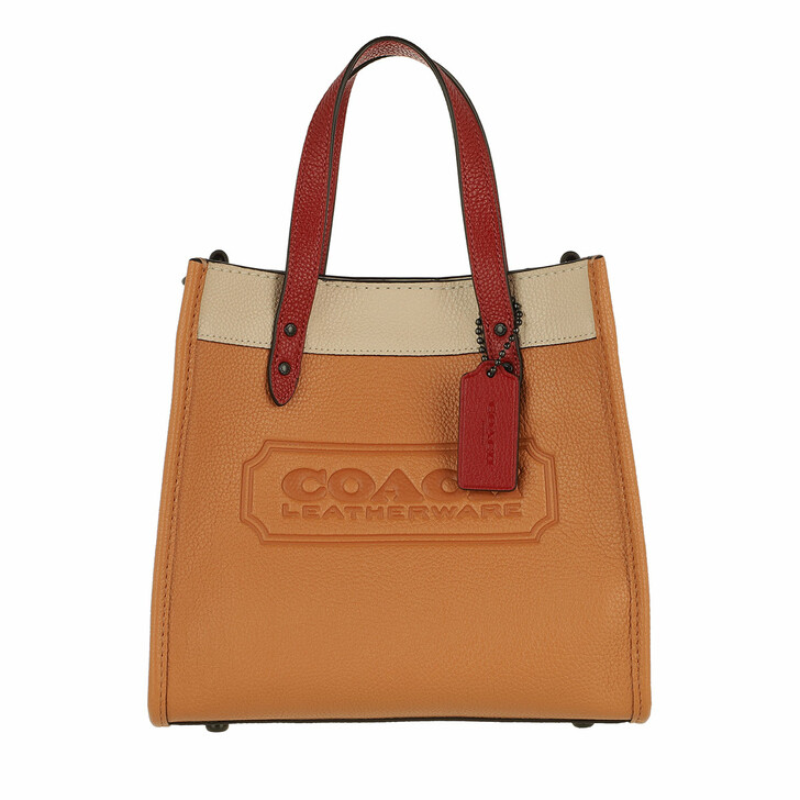 bags, Coach, Colorblock Leather Whipstitch Detail Coach Badge F V5/Natural Multi