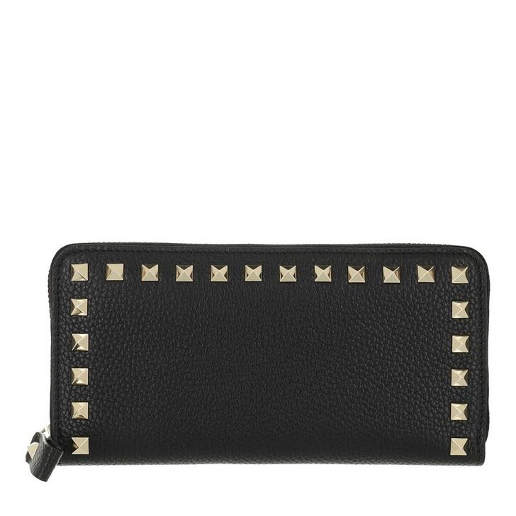 Geldbörse, Valentino Garavani, Rockstud Wallet Large Leather Black