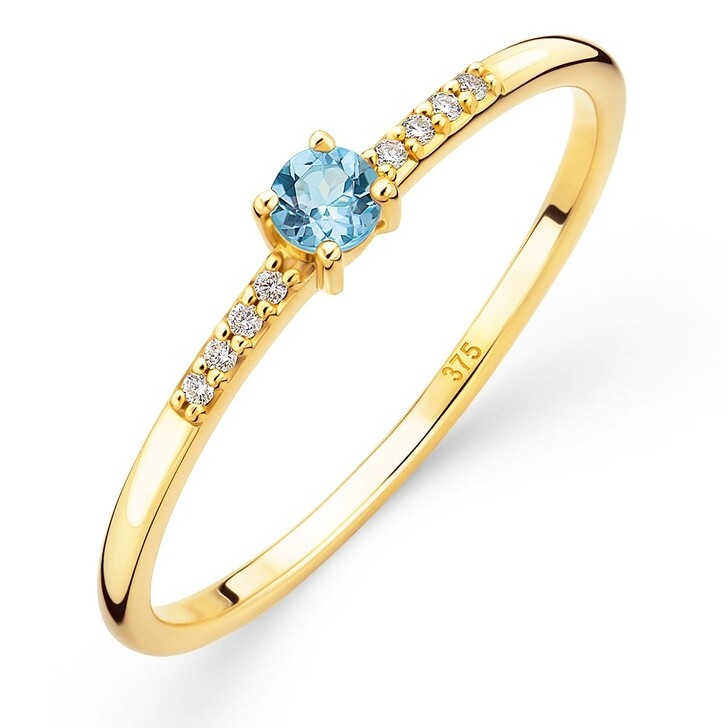 rings, DIAMADA, 9K Ring with Diamond and Topaz Yellow Gold and Swiss Blue