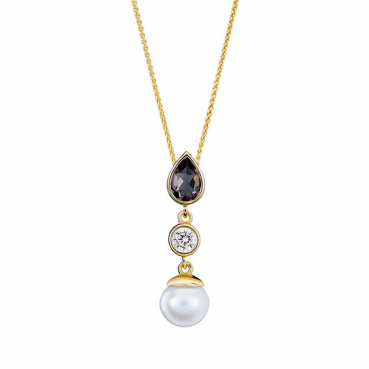 Kette, Orphelia, Necklace Smokey Quartz & Fresh Water Pearl Yellow Gold