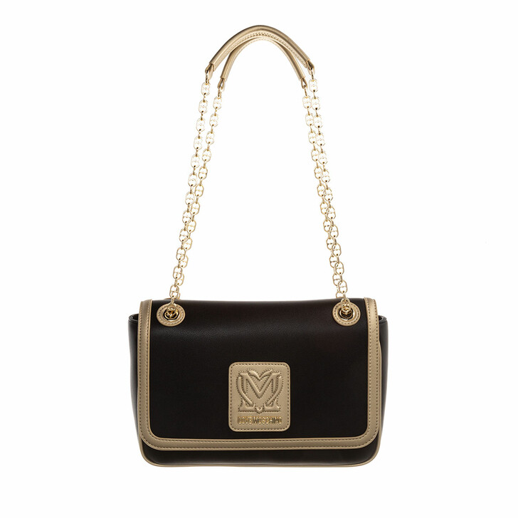 bags, Love Moschino, Borsa Pu  Nero/Oro