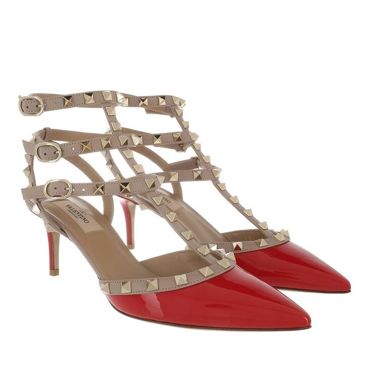 Schuh, Valentino Garavani, Rockstud Ankle Strap Patent Pumps Red