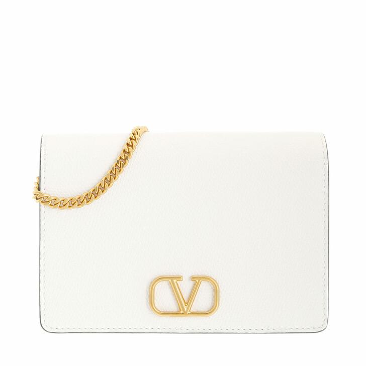 bags, Valentino Garavani, V-Logo Signature Crossbody Bag Leather White
