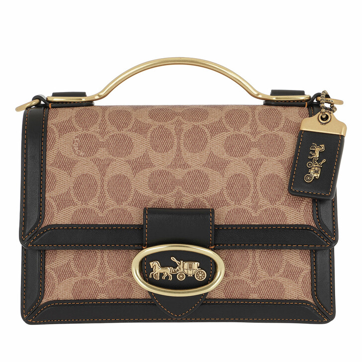 Handtasche, Coach, Signature Riley Top Handle Tan Black
