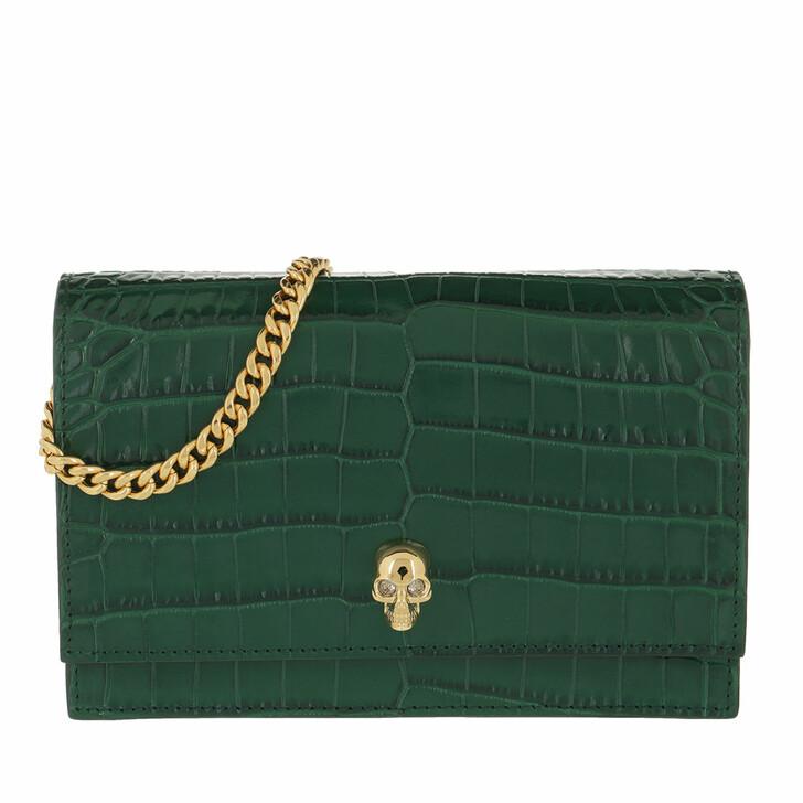 Handtasche, Alexander McQueen, Skull Mini Crossbody Bag Leather Dark Green