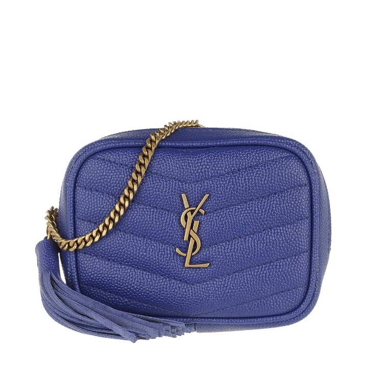 Handtasche, Saint Laurent, Lou Baby Shoulder Bag Leather Saphir Bleu