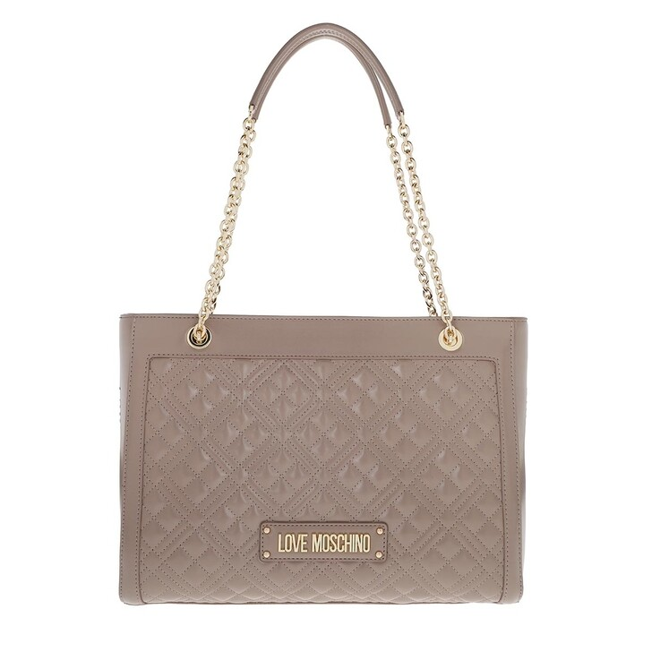 bags, Love Moschino, Logo Shpper Quilted Nappa   Grigio