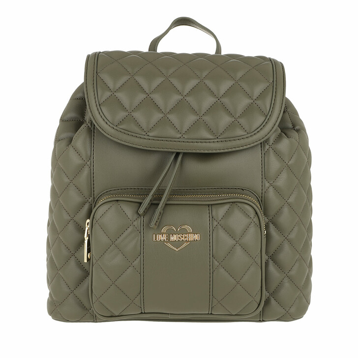 Reisetasche, Love Moschino, Quilted Nappa Backpack Verde