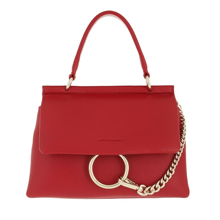 bags, Chloé, Small Faye Soft Top Handle Bag Red Crush
