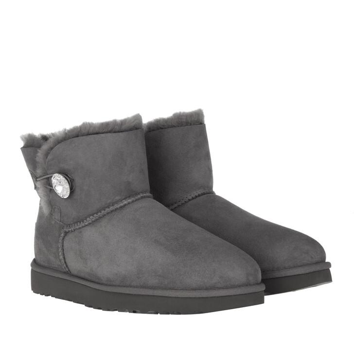 Schuh, UGG, W Mini Bailey Button Bling Grey