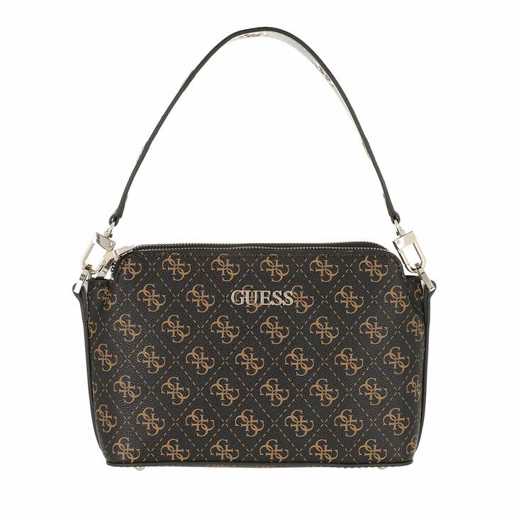 bags, Guess, Washington Dbl Zip Crossbody Brown Multi