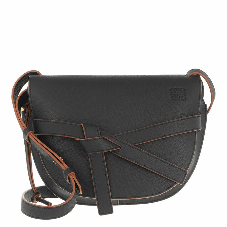 bags, Loewe, Small Gate Crossbody Bag Pebble Grain Calfskin Black