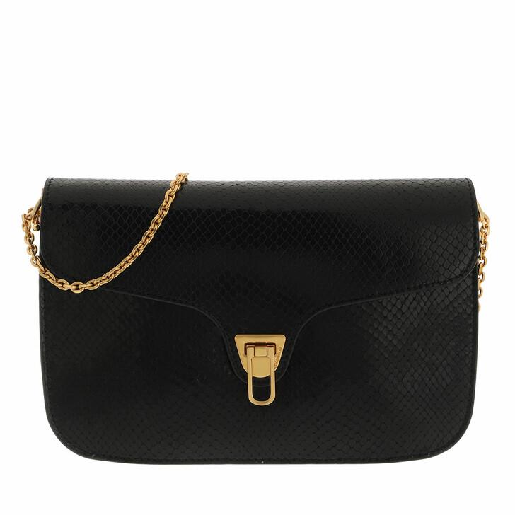 bags, Coccinelle, Handbag Snake Print Leather  Noir