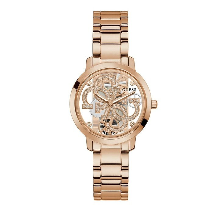 watches, Guess, Ladies Watch Quattro Clear Rose Gold/Bronze