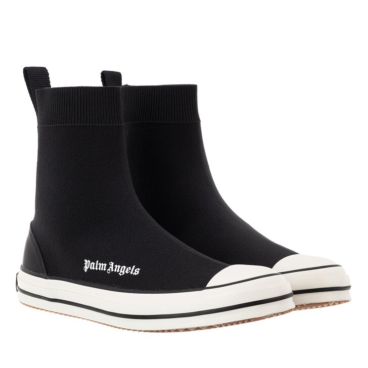 shoes, Palm Angels, Knitted Sock High Vulcanized   Black White