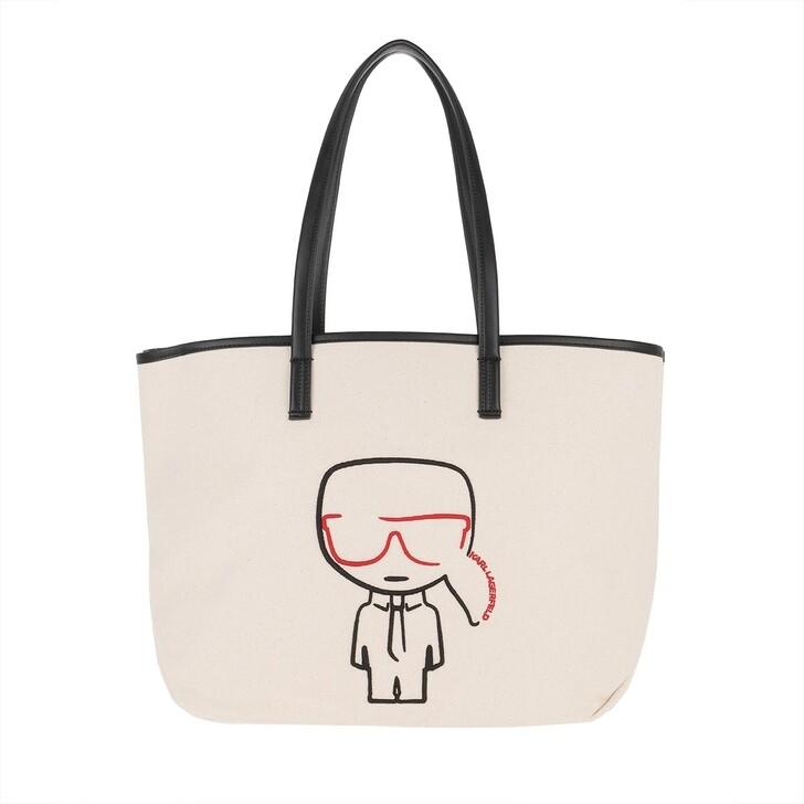 Handtasche, Karl Lagerfeld, K/Ikonik Canvas Shopper Natural/Black