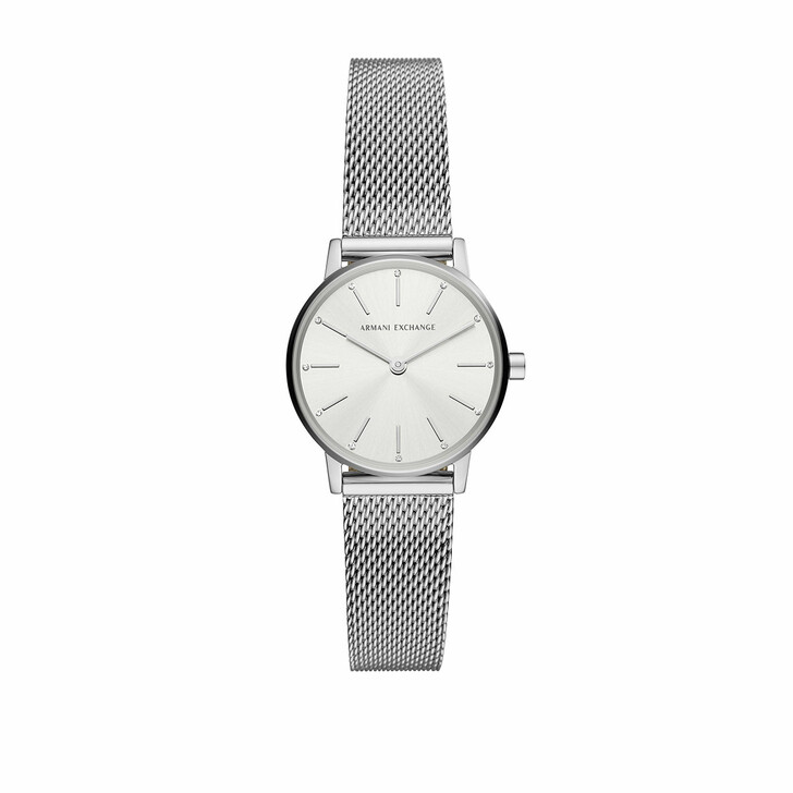 Uhr, Armani Exchange, Ladies Two-Hand Stainless Steel Watch Silver