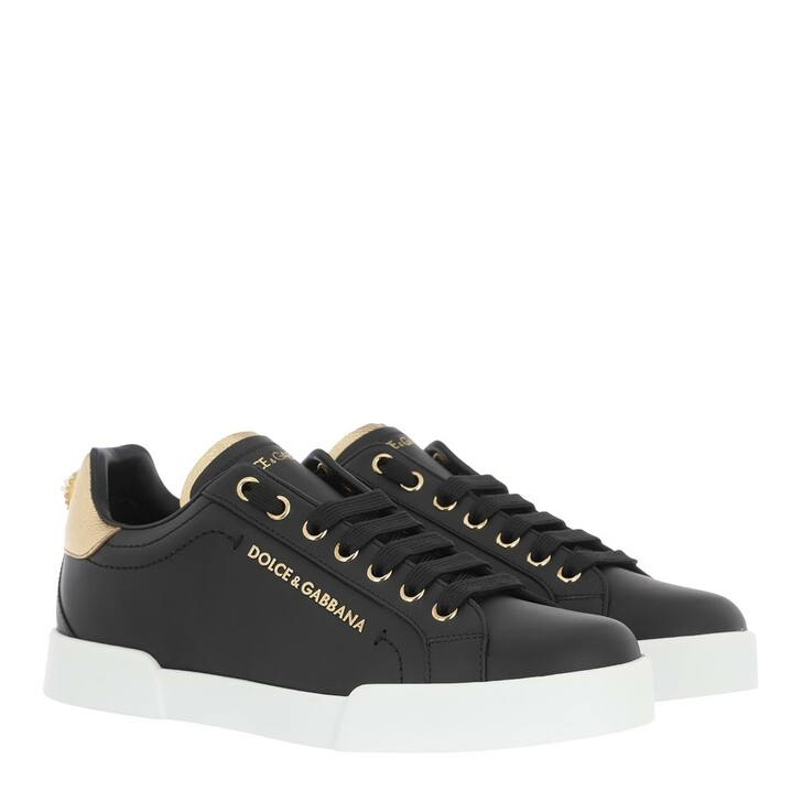 Schuh, Dolce&Gabbana, Portofino Pearl Sneakers Leather Black/Gold