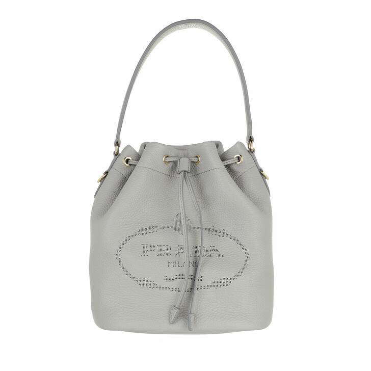 bags, Prada, Bucket Bag Leather Granito