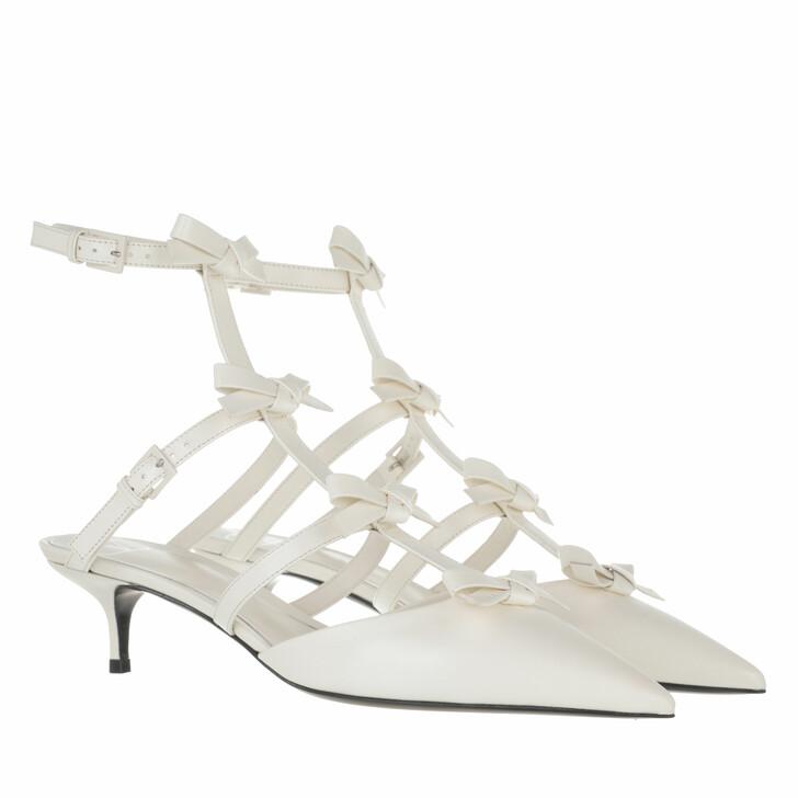 shoes, Valentino Garavani, Ankle Strap French Bows Pumps Ivory