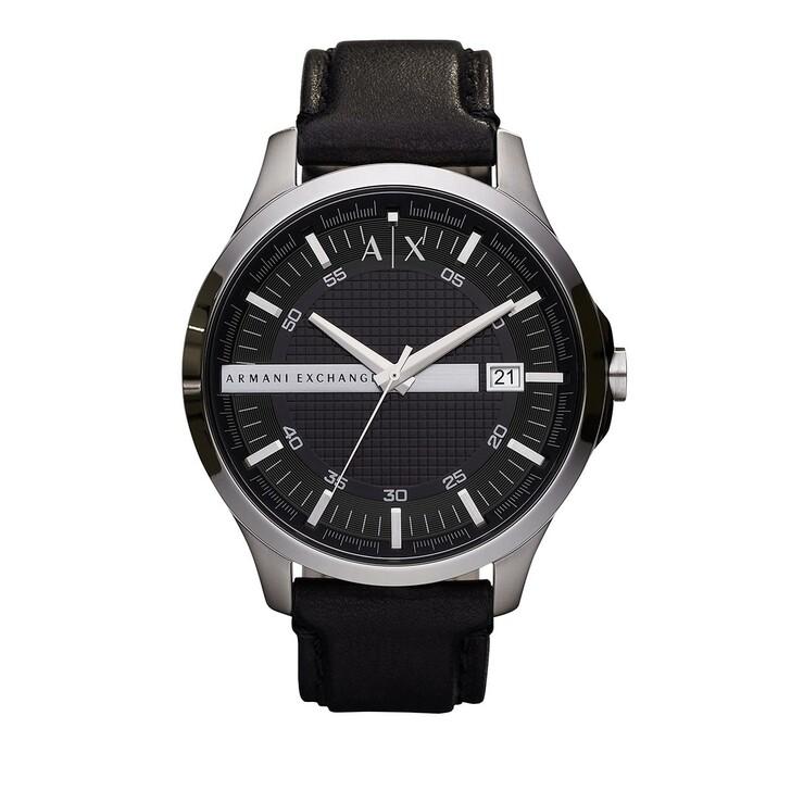 watches, Armani Exchange, Three-Hand Leather Watch Black