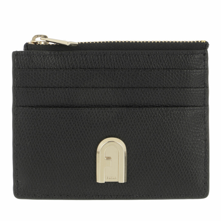 wallets, Furla, Furla 1927 S Card Case W/Zip Nero