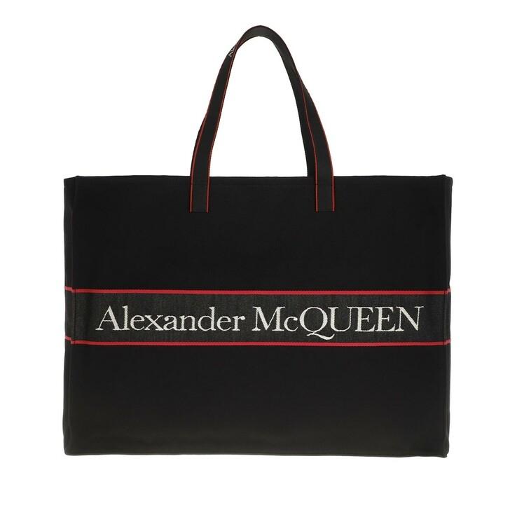 Handtasche, Alexander McQueen, Logo Shopping Bag Black/Red
