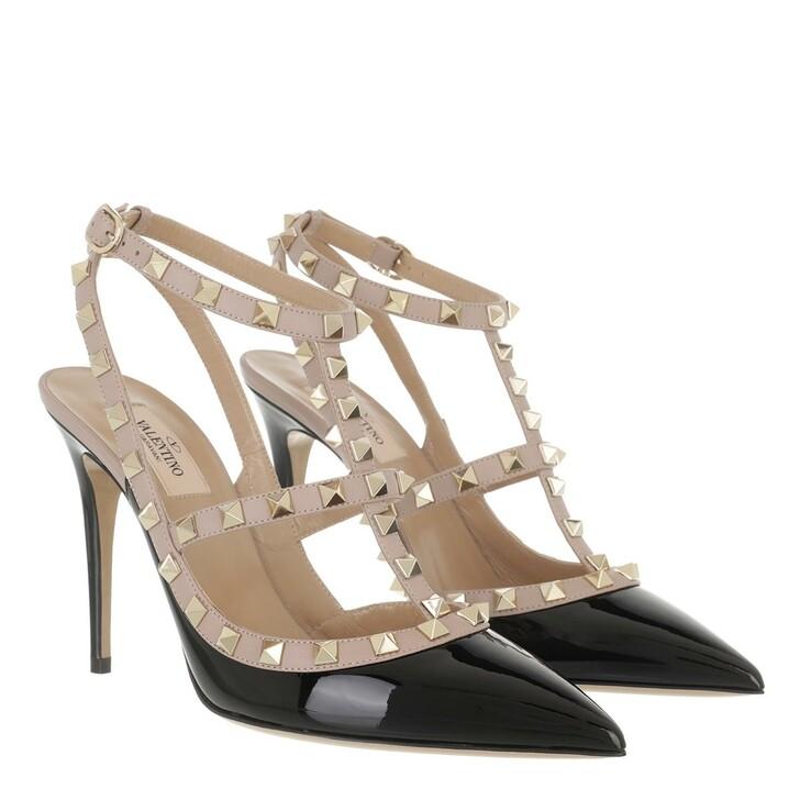 shoes, Valentino Garavani, Rockstud Ankle Strap Patent Pumps Black Poudre