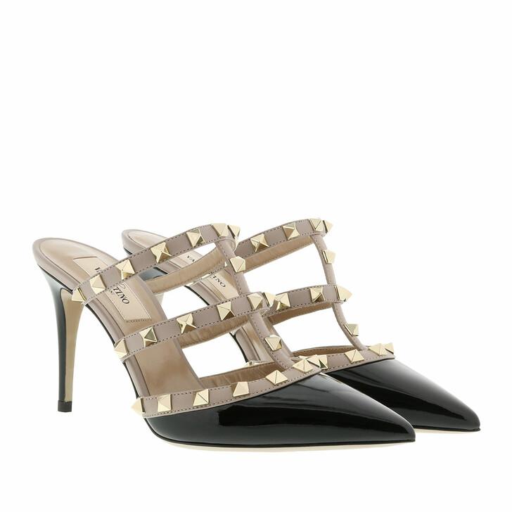 Schuh, Valentino Garavani, Rockstud High Heel Mules Patent Leather Nero/Poudre