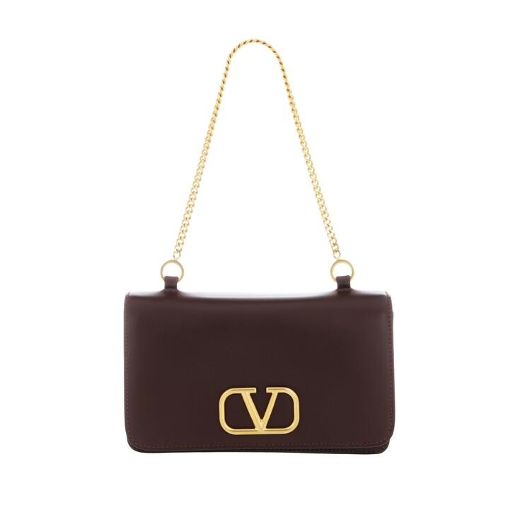 Handtasche, Valentino, Medium Pouch Leather Rubin