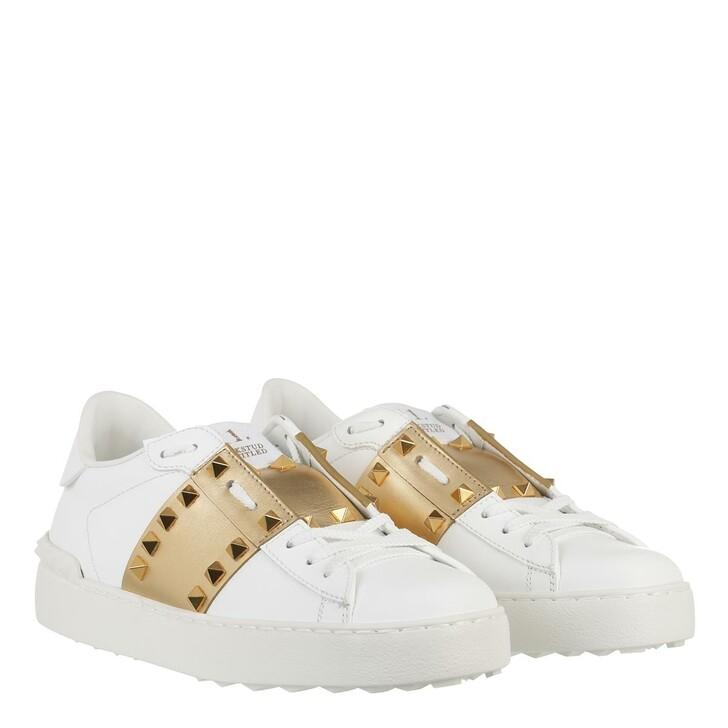 Schuh, Valentino Garavani, Rockstud Untitled Sneaker Calfskin Leather White/Antique Brass