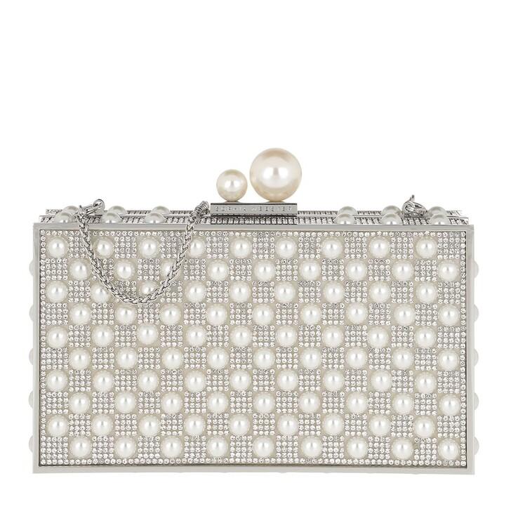 bags, Sophia Webster, Clara Crystal Box Bag Silver & Pearl