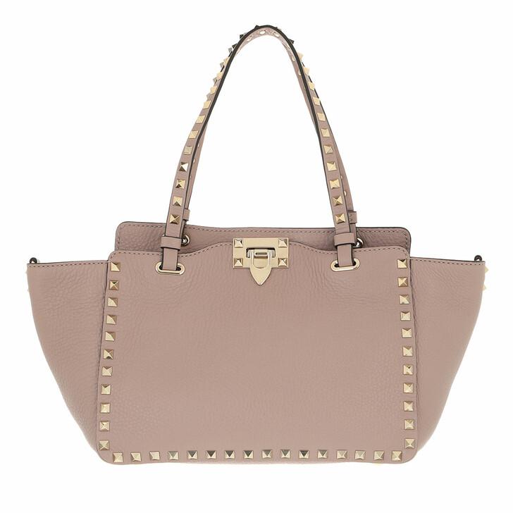 bags, Valentino Garavani, Rockstud Small Tote Leather  Poudre