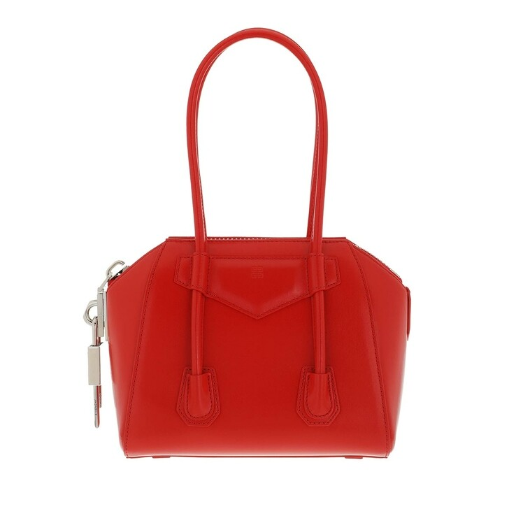 bags, Givenchy, Mini Antigona Lock in Box Bag Red