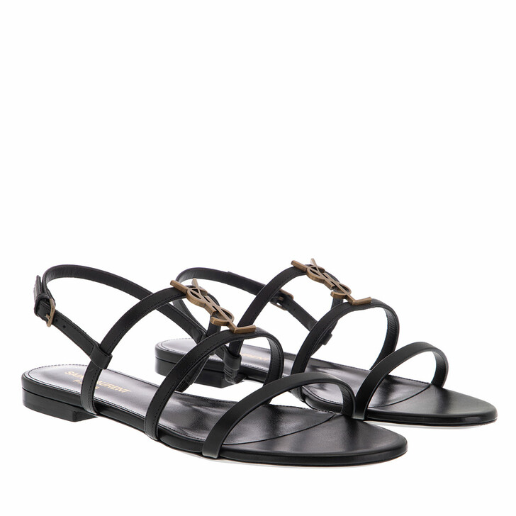 Schuh, Saint Laurent, Cassandra Flat Sandals Smooth Leather Black Gold