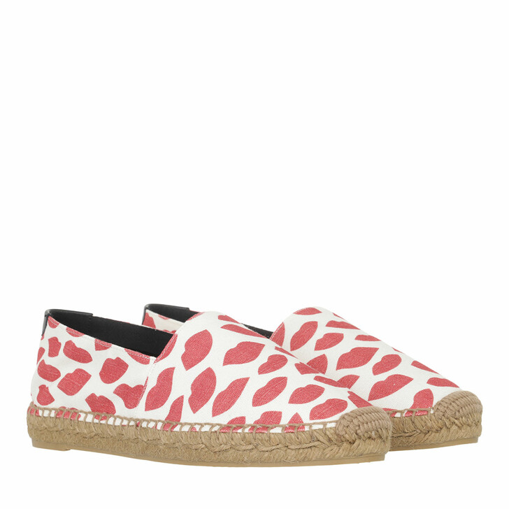 shoes, Saint Laurent, Kiss Espadrilles White/Red