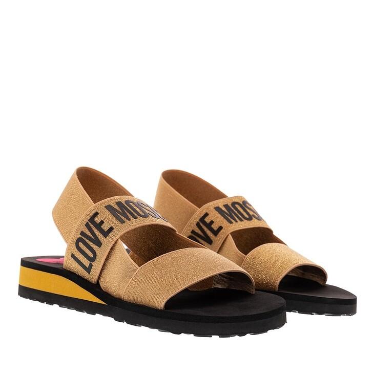 Schuh, Love Moschino, Sandal Eva30 Elastico Lurex Oro
