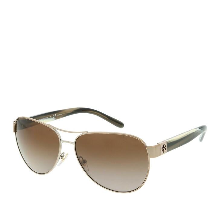 Sonnenbrille, Tory Burch, Women Sunglasses Modern 0TY6051 Light Gold/Olive Horn