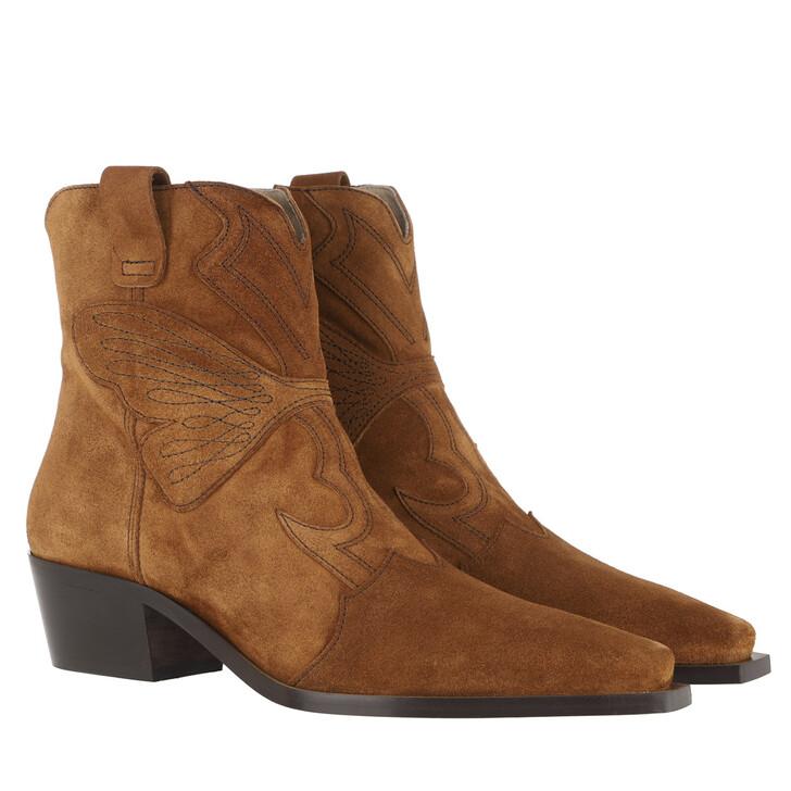 Schuh, Toral, Block Heel Suede Ankle Boots Cognac