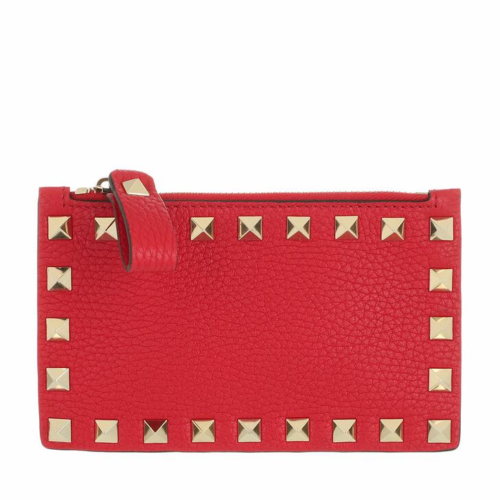 wallets, Valentino Garavani, Rockstud Card Wallet Leather Rouge Pur